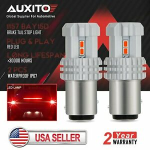 2x Auxito 1157 2057 Red Led Turn Signal Brake Tail Light Bulbs 3020 Smd Bay15d