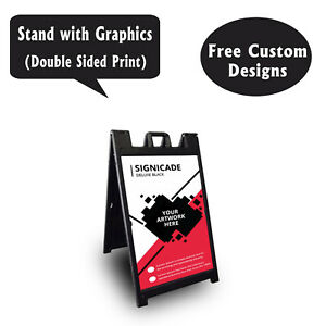 Signicade A Frame Sidewalk Pavement Sign Double Sided Sandwich Board Dlx Black
