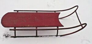 Early Victorian Antique Wood Ornate Iron Childrens Sled Sleigh Wayne Co Pa