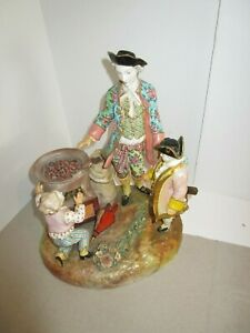 Antique 18c Meissen Porcelain Figurine Figural Group Roasting Chestnuts