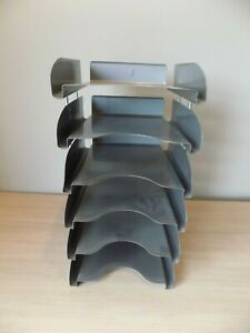 Vintage All steel 6 Tier Metal Paper Letter Organizer Paper Tray Legal Size Mcm