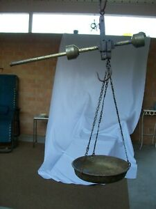 Antique Iron Brass Hanging Balance Scale W Brass Pan 10kg 22lbs Indonesia
