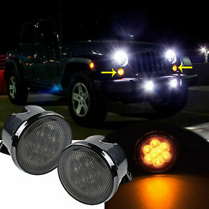 Led Turn Signal Front Grill Marker Lights Smoke Lens For Jeep Wrangler Jk 07 18