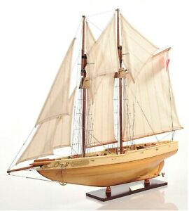 29 5 Bluenose Ii Schooner Sailboat Handmade Wooden Model Ship Assembled