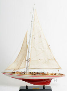 31 5 X 24 America S Cup Endeavour J Class Sailbboat Wood Model Yacht Assembled
