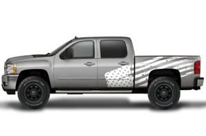 Vinyl Decal Patriot Flag Wrap Kit For Chevy Silverado 1500 2500 2008 2013 White