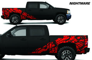 Vinyl Decal Nightmare Wrap Kit For Chevy Silverado 1500 2500 2008 2013 Dark Red
