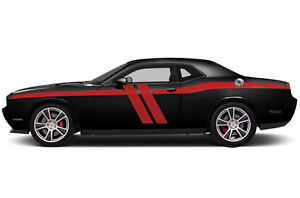 Vinyl Decal Side Body Hash Stripe Wrap Kit Fits 2011 2018 Dodge Challenger Red