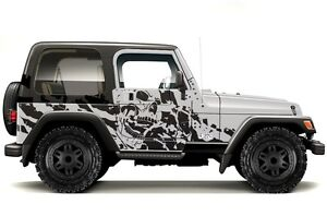 Vinyl Graphics Decal Wrap Kit For 1999 2006 Jeep Wrangler Nightmare Matte Black