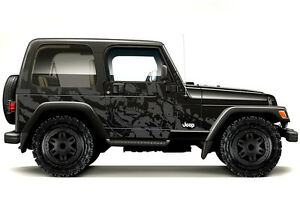 Vinyl Graphics Decal Wrap Kit For 1999 2006 Jeep Wrangler Rubicon Nightmare Gray