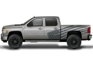Vinyl Decal Patriot Flag Wrap Kit For Chevy Silverado 1500 2500 2008 2013 Gray