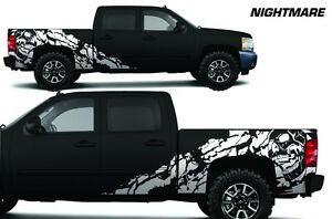 Vinyl Decal Nightmare Wrap Kit For Chevy Silverado 1500 2500 2008 13 Truck White