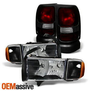 For 1999 2001 Dodge Ram 1500 Sport Black Headlights Red Smoked Tail Light Pair