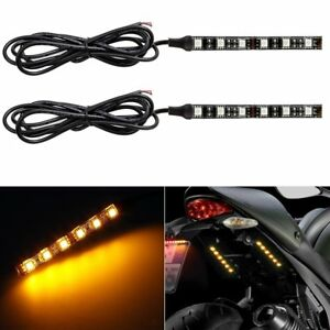 2pcs Motorcycle 6 Led Amber Tail Light Turn Signals For Bobber Racer Brake Strip