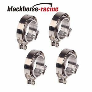 4pcs 2 5inch Stainless Steel V Band Clamp Flange Turbo Pipe Wastegate Exhaust