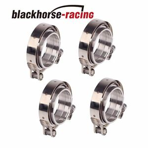 4pcs 2 5 inch Stainless Steel V band Clamp flange Turbo Pipe Wastegate Exhaust