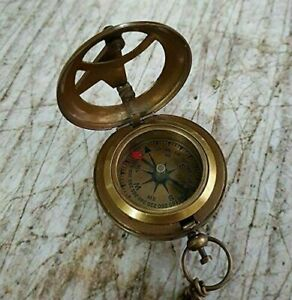 Vintage Engraved Push Button Sundial Nautical Brass Compass With Chain Compass