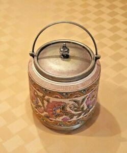 Antique Taylor Tunnicliffe Co Biscuit Jar With Silver Plated Lid