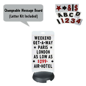 Tip N Roll Message Board Sidewalk Sign Changeable Letter Outdoor Sign White