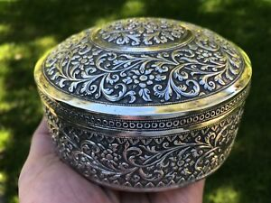 Antique Indian Silver Signed Box 1890 247gms Fine Quality Kutch Silver