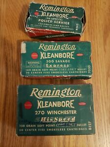 Lot of 3 Ammo Box Empty Remington Kleanbore 270 300 38 Special Savage Police