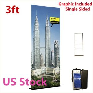 Us 3ft Exhibition Booth Fabric Tension Display Single Sided With 32mm Tube