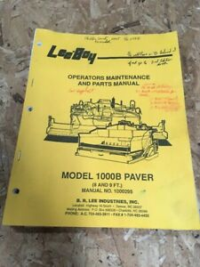 Leeboy Model 1000b Paver Operators Maintenance And Parts Manual