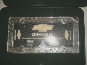 Old School Vtg Style Heavy Diamond Plate Chevy Bow Tie License Plate Frame