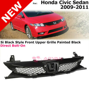 Black Glossy Front Grille For 09 11 Honda Civic 4 door Sedan Center Si Style