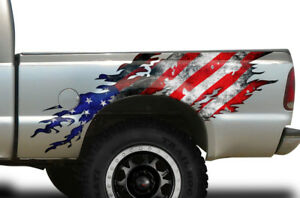 Torn Half Bed Graphic Kit Truck Decal Sticker Fits Ford F 250 1999 2006 Usa Flg