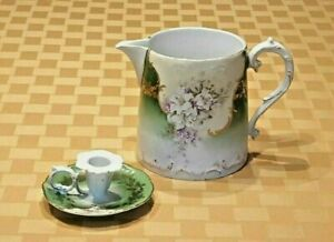 Antique Porcelain Water Pitcher And Chamber Stick