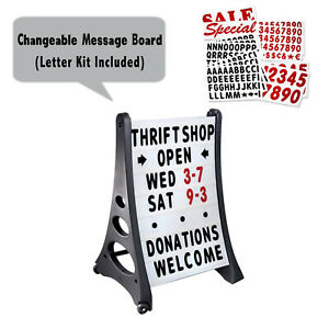 Two Side Qla Deluxe Message Board Changeable Letter Sidewalk Sign White