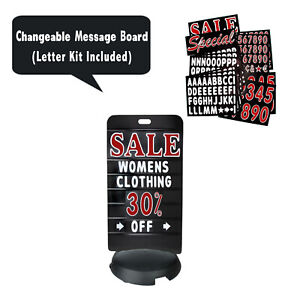 Tip N Roll Deluxe Message Board Sidewalk Sign Changeable Letter Kit Sign Black