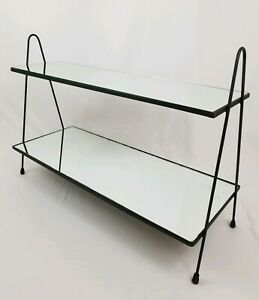 Mid Century Tv Stereo Plant Display Shelf Stand Iron Mirror Hairpin Vintage