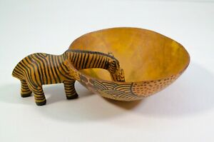 Hand Carved Wood 7 Zebra Bowl