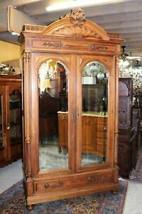 French Antique Walnut Gothic Armoire With 3 Shelves 1880 Bedroom Furniture