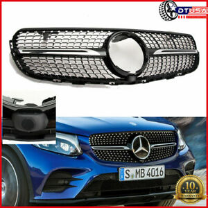 camera Diamond Gloss Black Grill Grille For Mercedes Glc 220 250 300 250 Amg 43
