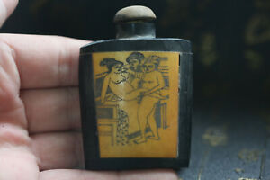 Rare Chinese Hand Carved Man Woman Cattle Bone Snuff Bottle W16