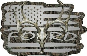 American Flag Ford Truck F150 F250 F350 Whitetail Buck Skull Hunting Deer Decal