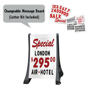 Two Side Xl Qla Deluxe Message Board Changeable Letter Sidewalk Sign White