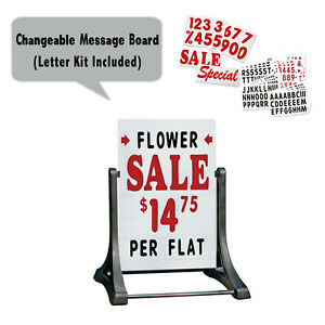Swinger Deluxe Message Board Xl A frame Changeable Letter Sidewalk Sign White