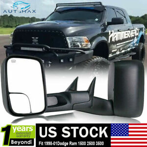 Fit 1998 2001 Dodge Ram 1500 2500 3500 Flip Up Power Heated Turn Tow Mirrors
