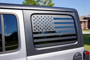 Usa Flag Side Window Decal Kit For Your Jeep Wrangler Jl 2018 Onward Matte Black