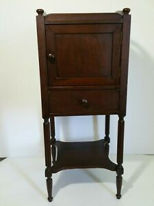 Vintage Antique Federal Style End Table Cabinet With Door Drawer