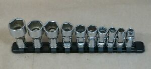 Snap On Sae Shallow Universal Swivel Sockets 10 piece Set 3 8 Drive 6 point