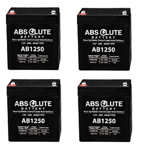 4 Pack New Ab1250 12v 5ah Sla Replacement Battery Sunl E 907a