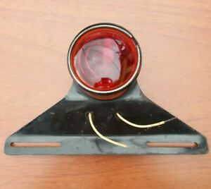 Vintage Mass one Tail Lamp Tag Light Truck Trailer Red Glass Lens Plate Mount