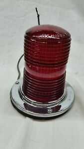 Vintage 6v Safety Red Lamp Arrow 35 Glass Emergency 360 Degree Warning Light