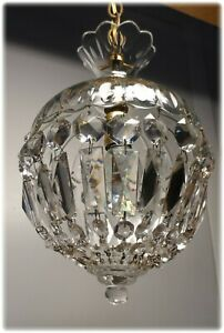 Vintage 1950 S Unusual Small Cut Glass Crystal Light Petite Chandelier 2