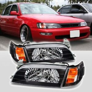 Fits For 1993 1997 Toyota Corolla Headlights Jdm Corner Lamps 4pcs Set Black
